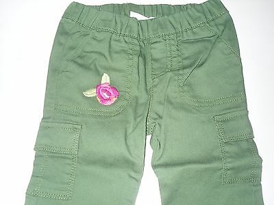 NWT Girls Crazy 8 Green Flower Pocket Cargo Pants  4T 4  New