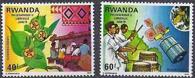 Rwanda 1979 Sc 913-914 MNH  Philexafrique Intelsat Drums Weaving