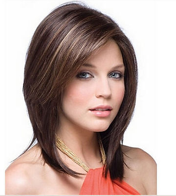NEW314  fancy short Brown mix health lady's hair wig wigs for women