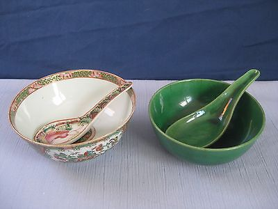 Lot of 2 Vintage Chinese/Japanese Porcelain Rice Soup Bowl / Tea Cup with spoons