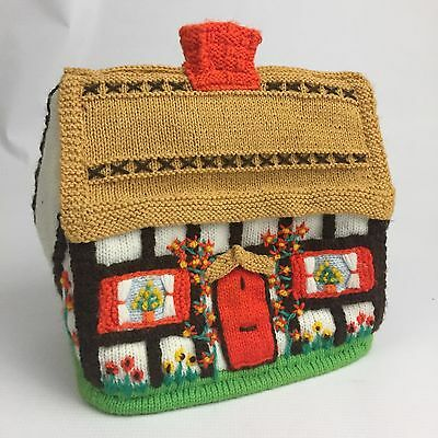 Hand Knitted Tea Cozy Thatched Roof Cottage Batten Board