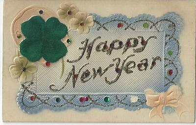 Happy New Year - Material Four Leaf Clover Glitter Diamantes Vintage Postcard