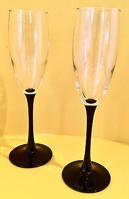 Luminarc Crystal Wine Glasses, 5 oz, Set of 2, Black Stems