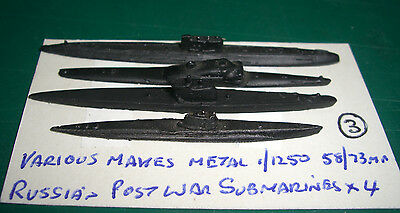 Russian Post War Submarines x 4 by Various Makes, Scale 1/1250