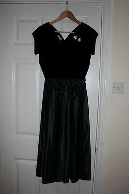 Vintage 50s Original TEENA PAIGE  Debutante Dress Rhinestone Detail UK8-10