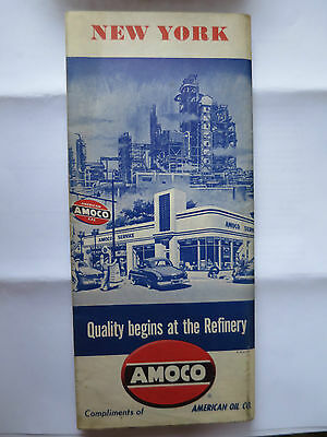 AMOCO OIL NEW YORK STATE AUTOMOBILE HIGHWAY ROAD MAP VINTAGE 1950s
