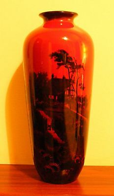 "Large Antique Royal Doulton Flambe 12"" Vase....Farmhouse...Fred Moore"