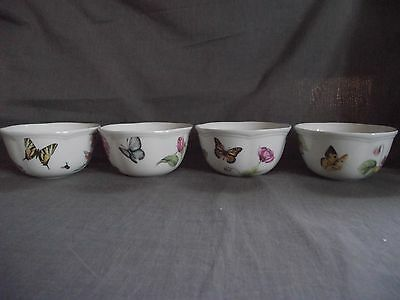 Set of 4 Lenox Butterfly Meadow Bloom Fruit Dessert Bowls