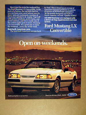 1990 Ford Mustang LX Convertible white car photo vintage print Ad
