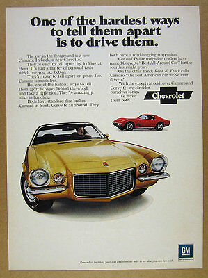 1971 Chevrolet Chevy yellow Camaro & red Corvette photo vintage print Ad