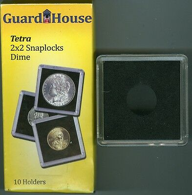 Guardhouse Tetra Plastic 2X2 Snaplock 10 Coin Holders For Dimes