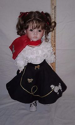 Porcelain Molly Doll Poodle  Outfit Brown Hair & Eyes  23""