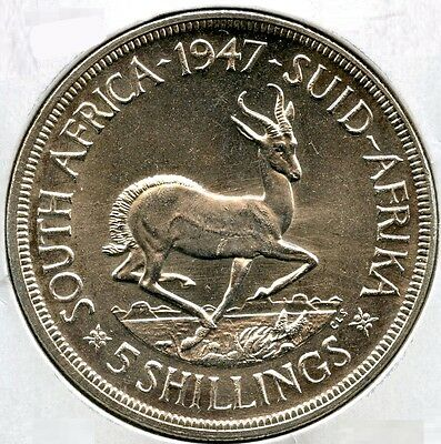 South Africa 1947 Silver Coin - 5 Shillings - King George VI - Suid Afrkia AJ712