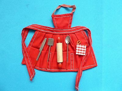 Vintage Barbie Red Apron And Utensils (1962)  Exc & Complete