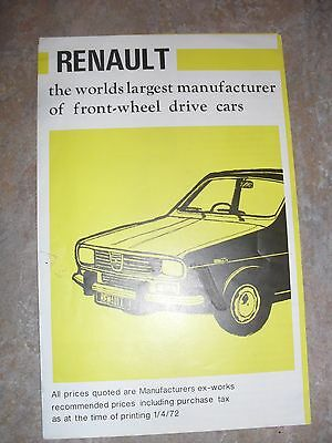 Renault Range Brochure 1972 - With Local Birmingham Area Dealers on the Rear Cov