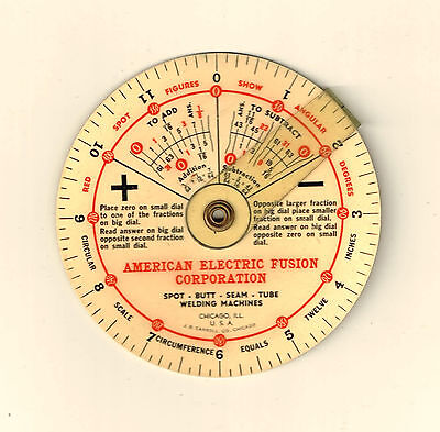 Vintage AMERICAN ELECTRIC FUSION CORP. Pocket Wheel Chart