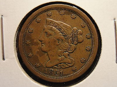 1851 Braided Hair Half Cent XF Great Looking Piece