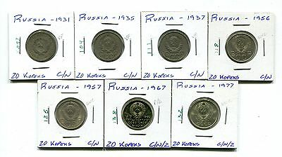 Russia : Lot of 7 different 20 Kopeks coins  1931 - 1977