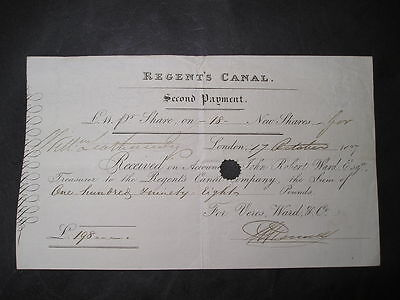 c1827  Regents  canal  Shares Certificate £198