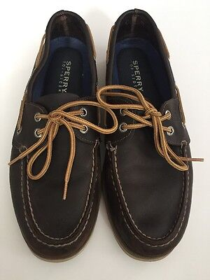 Men's Sperry Top-Sider Size 9 Brown Leather Boat Shoes Leeward