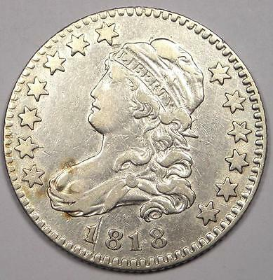 1818 Capped Bust Quarter 25C - VF/XF Details - Rare Early Date Type Coin!