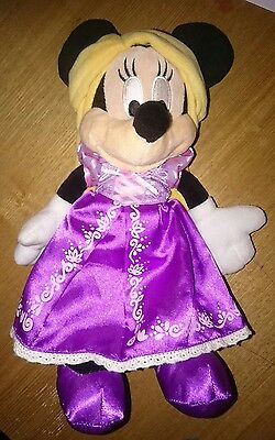 "Disney Parks Minnie Dressed as Rapunzel Tangled Soft Toy Plush 11"" Rare"