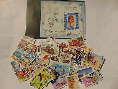 C/Isles,I.O.M a collection of 85+ different used stamps as picture off paper