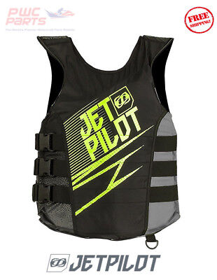 JETPILOT MATRIX Side-Entry Life Jacket Vest USCG Appv Black Green SeaDoo JP17213