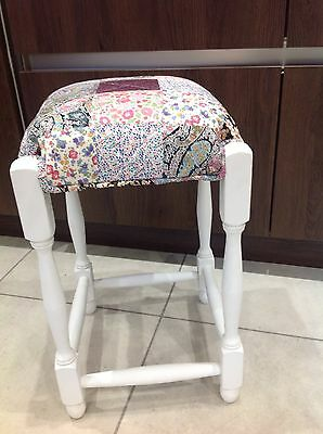 Chic Antique Vintage Stool. Refurbished. Liberty Of London Patchwork.