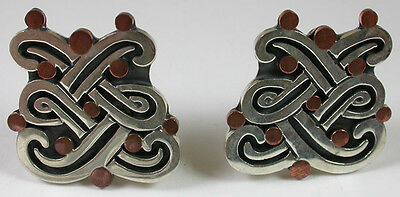 awesome MEXICAN SILVER & COPPER Earrings