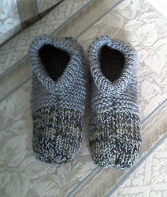 Mens Hand Knitted Slippers Camouflage Toe And Grey