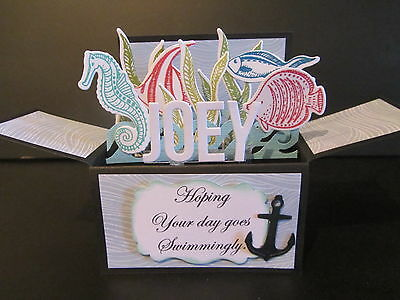Handmade  3D  Birthday Card in a box -Under the sea, PERSONALISED