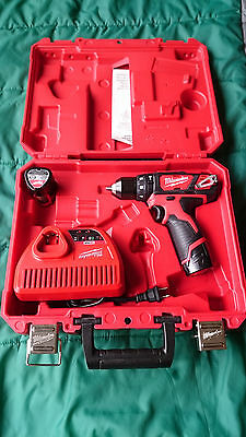 "Milwaukee M12 3/8"" 12V Hammer Drill/Driver Kit w/ 2x Batteries/Charger (2408-22)"