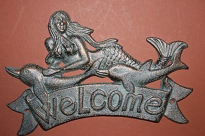 (3) Mermaid,welcome, Welcome Plaque, Welcome Sign, Dolphins,nautical Decor Bl-40