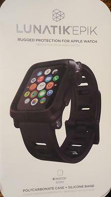 LUNATIK EPIK Polycarbonate Case and Silicone Band for Apple Watch 42mm Black NEW
