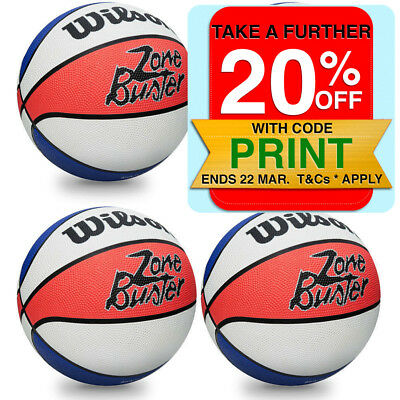 4PK Wilson Zone Buster Basketball - Official Size - 7/ Outdoor/Indoor Sport Ball