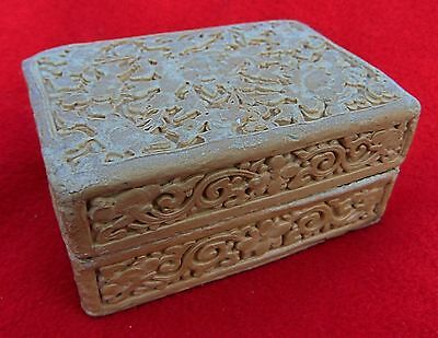 Antique Chinese Brass Trinket Box Overlaid With Designs