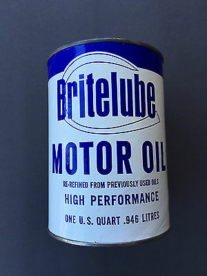 Vintage 1960's Britelube Motor Oil Can Never Filled – Tallahassee, Florida