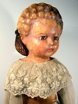 """EXQUISITE 1860 Antique WAX over PAPER MACHE 24"""" Doll ALL ORIGINAL w lace outfit"""