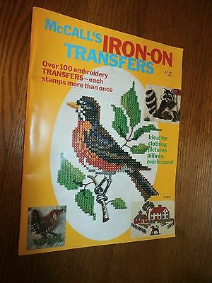 Vintage McCalls Iron On Transfers 100+ Embroidery Pillows Picture Clothing Book
