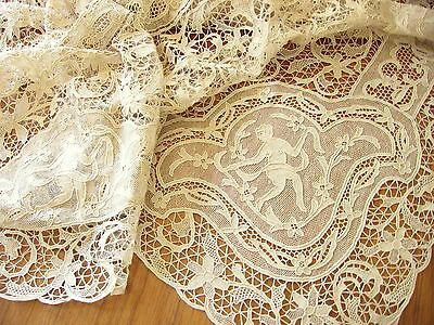 MONUMENTAL Figural Antique POINT VENISE NEEDLE LACE Tablecloth 24 Napkins 70x178
