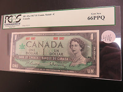 1967 $1.00 Canadian Note PCGS 66PPQ