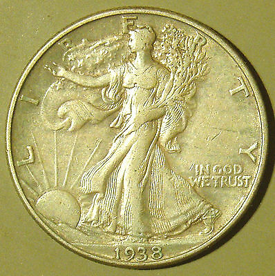 1938 D Walking Liberty Half Dollar - Extremely Fine - Key Date - #2017011
