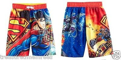 Superman Board Shorts Swim Trunks Swimsuit ~ Size 10/12 ~ New With Tags