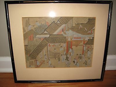 ANTIQUE CHINESE WATERCOLOR ON SILK Market Scene Framed & Matted Under Glass