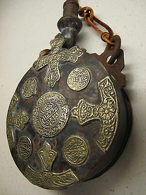 ANTIQUE MOROCCAN POWDER FLASK w Moroccan Silver Dirham Coin Decorations