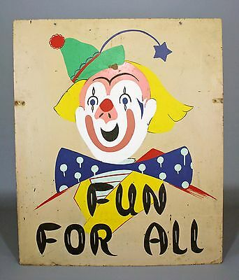 "Vintage Hand-Painted Circus/Carnival Sign, ""Fun For All"", Double-Sided, Metal"