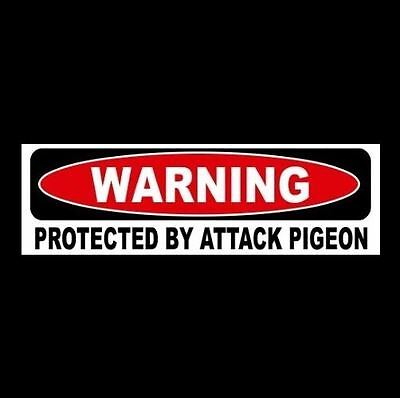 """Funny """"PROTECTED BY ATTACK PIGEON"""" window & door decal BUMPER STICKER sign, bird"""