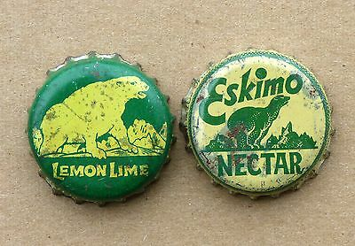 2 ESKIMO polar bear Lemon-Lime / Nectar Soda cork lined bottle caps FREE SHIP!