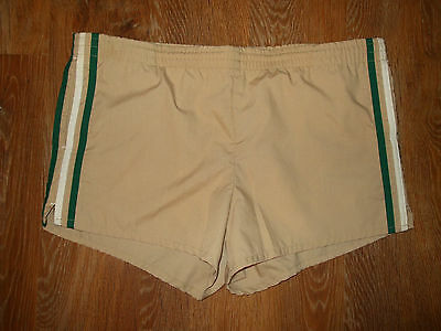 "Vtg 80S ""Jantzen"" Swim Trunks Bathing Suit Shorts Usa~Khaki Green Stripe~36"